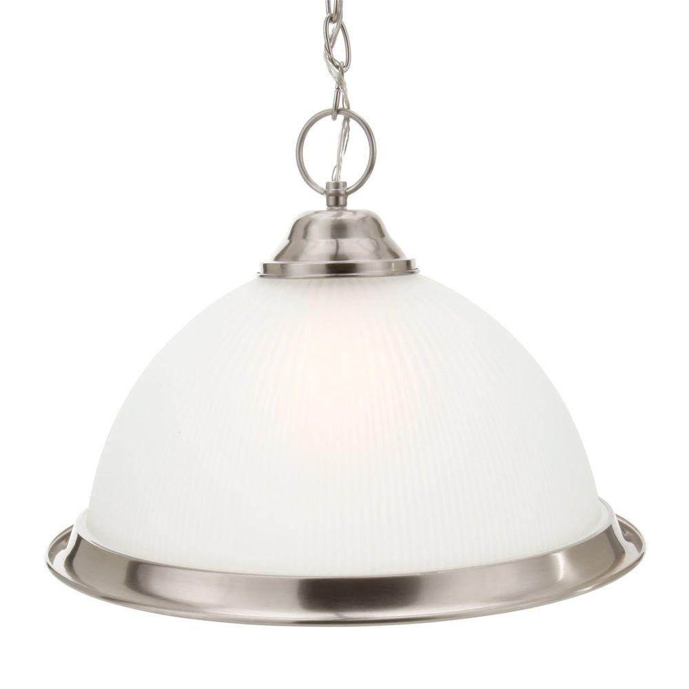 Commercial Electric Halophane 1 Light Brushed Nickel Pendant With