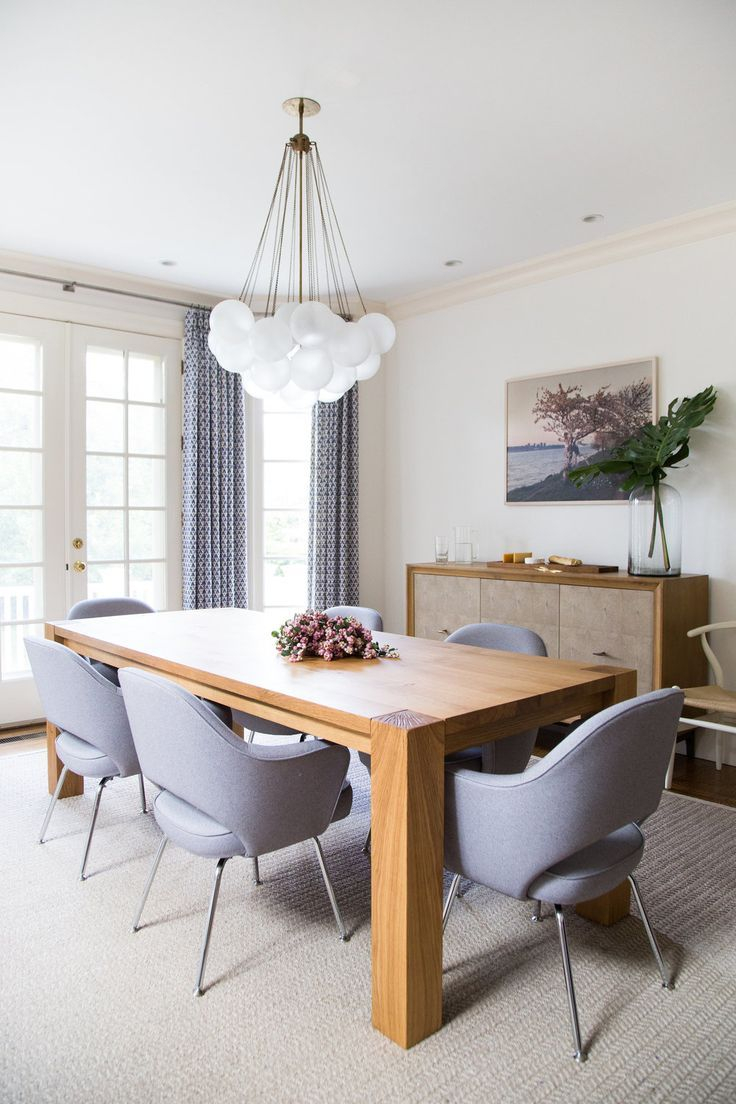 Contemporary Dining Room Design With Large Wooden Table And