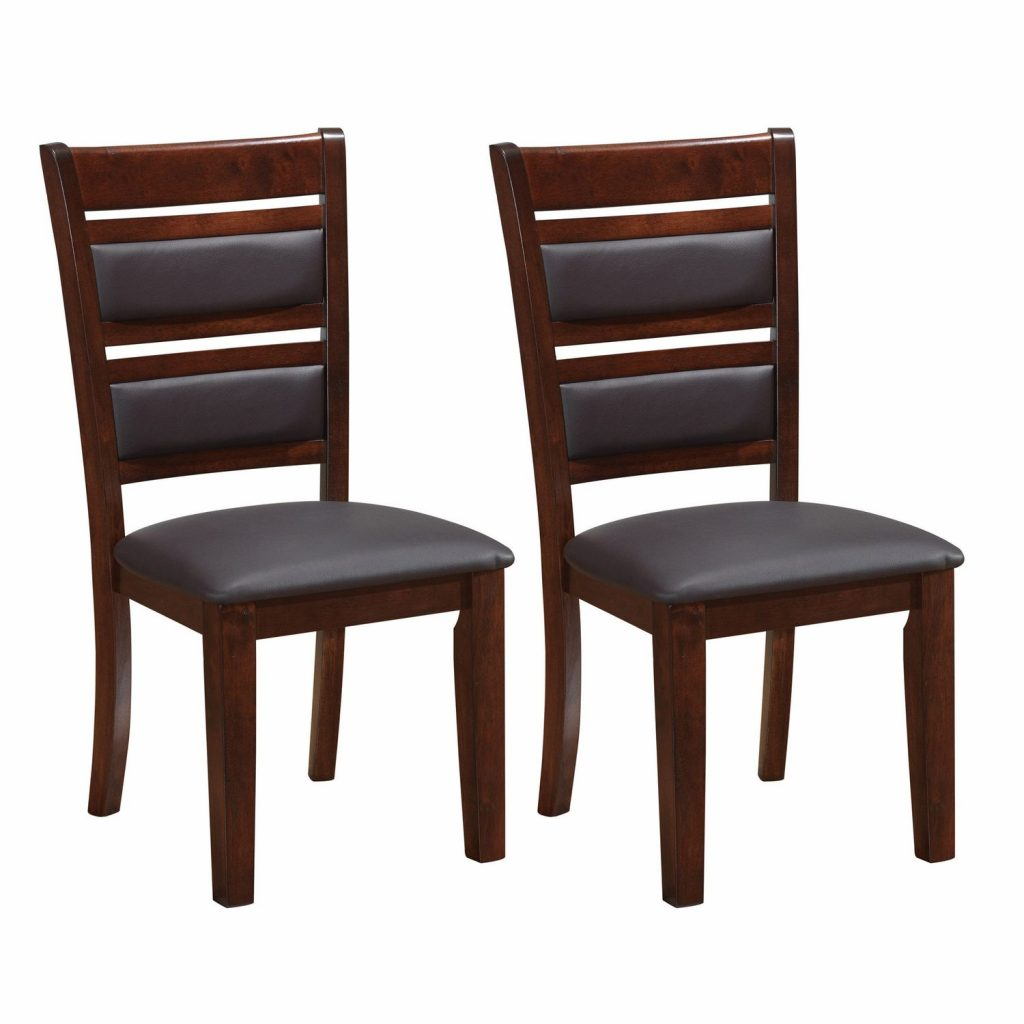 Corliving Set Of 2 Chocolate Brown Bonded Leather Dining Chairs
