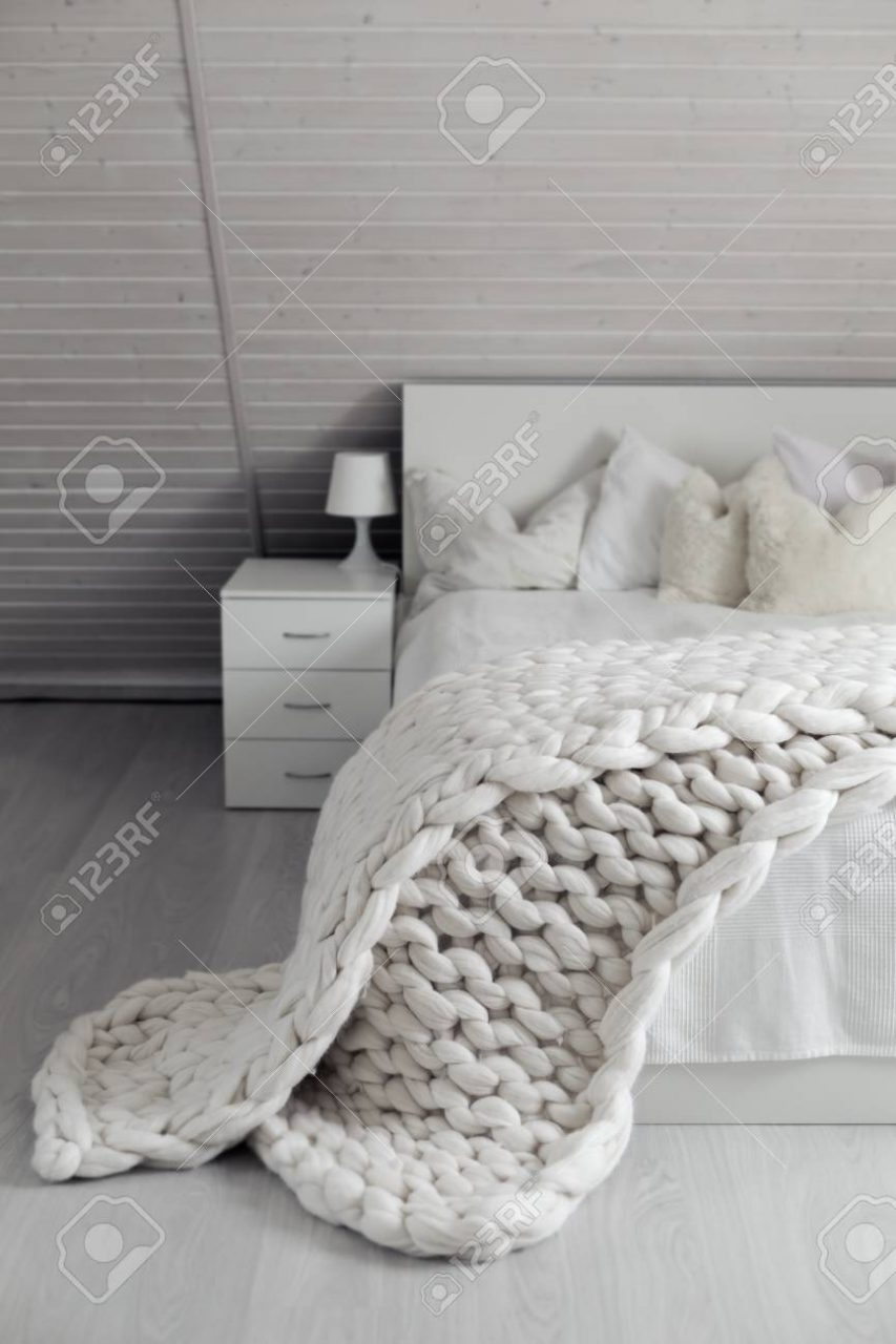 Cozy White Scandinavian Bedroom Interior At Loft Beautiful Stock