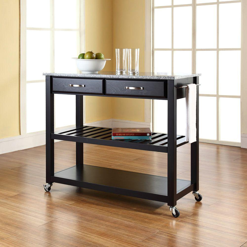 Crosley Black Kitchen Cart With Granite Top Kf30053bk The Home Depot