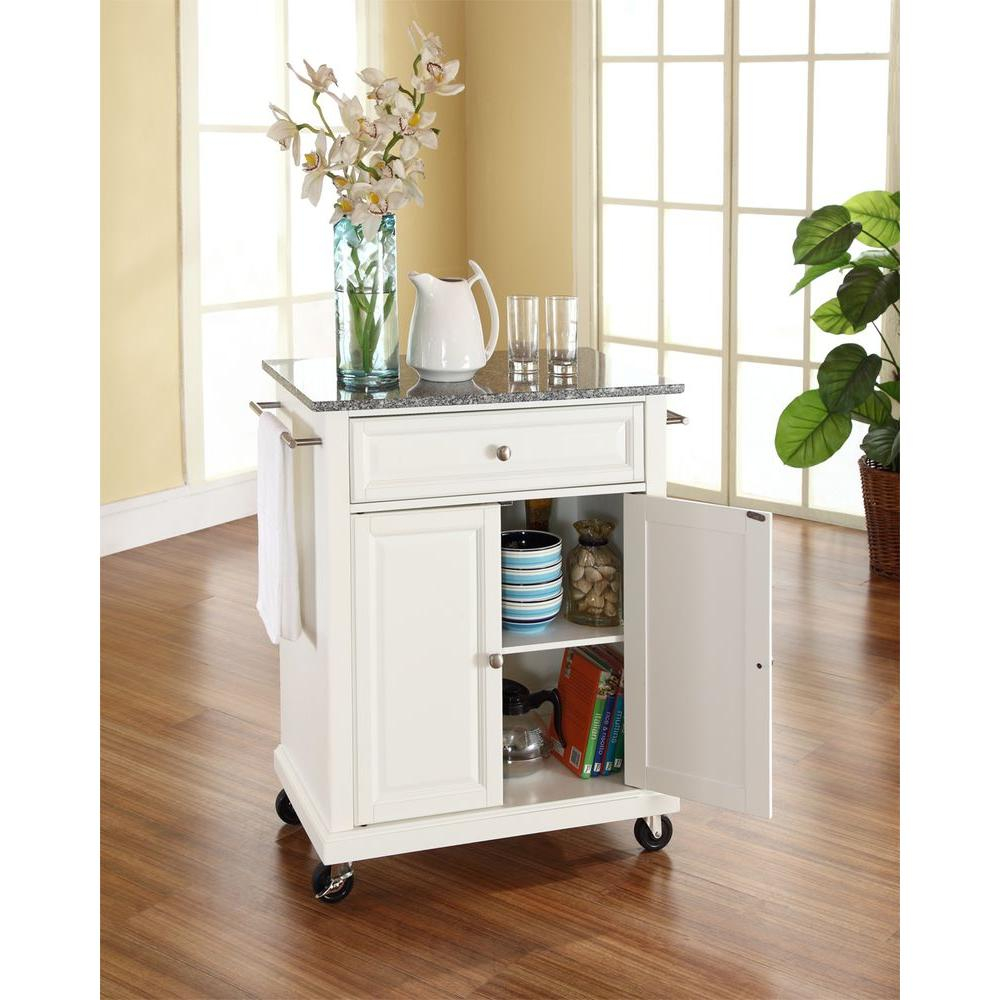 Crosley White Kitchen Cart With Granite Top Kf30023ewh The Home Depot