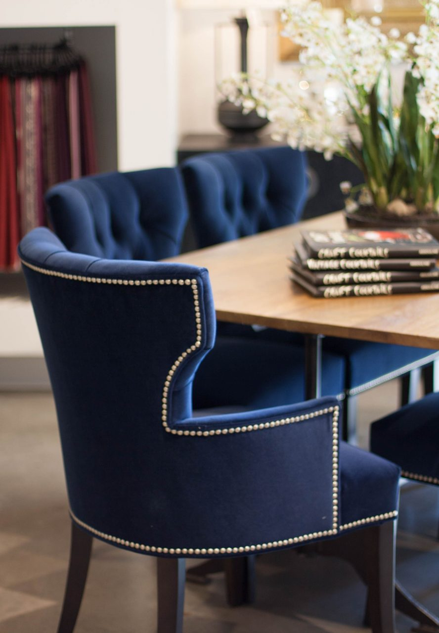 Crushed Velvet Royal Blue Dining Chairs And Wood Table Casa