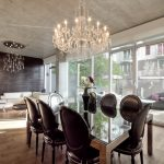 Dark Crystal Chandelier Dining Room Table Design