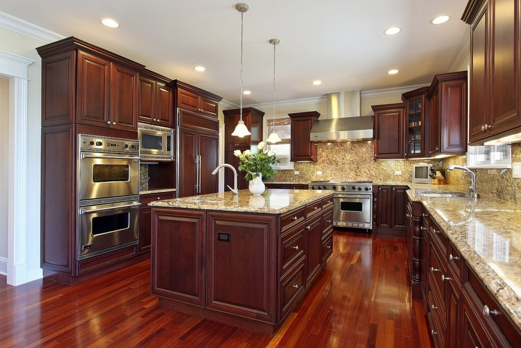 Dark Hardwood Floors With Simple Kitchen Cabinets With Wood Floors
