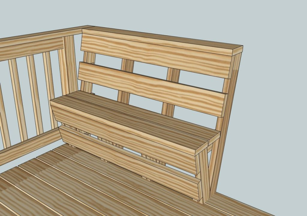 Deck Benches Built In Deck Railing Bench Plans Custom Deck Bench