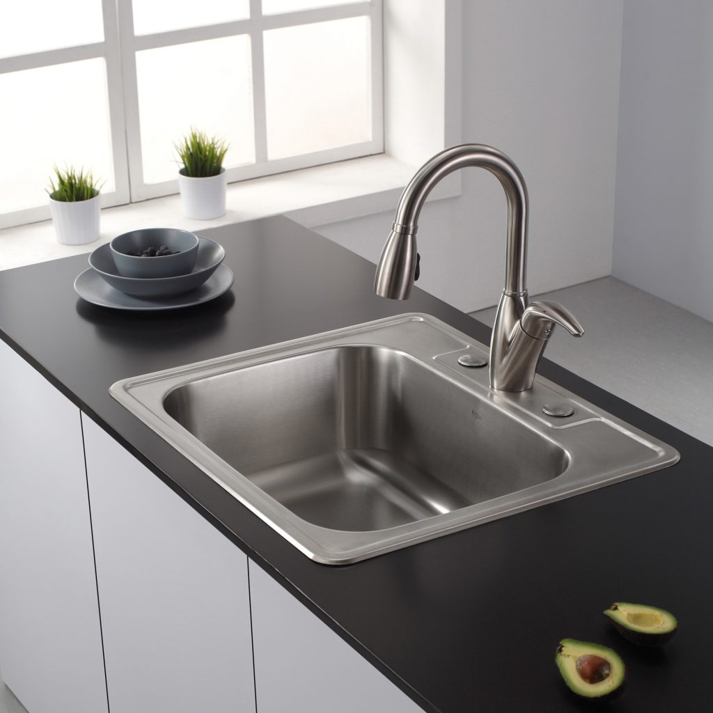 Decor Kraus 25 Inch Single Bowl Top Mount Farmhouse Sink For