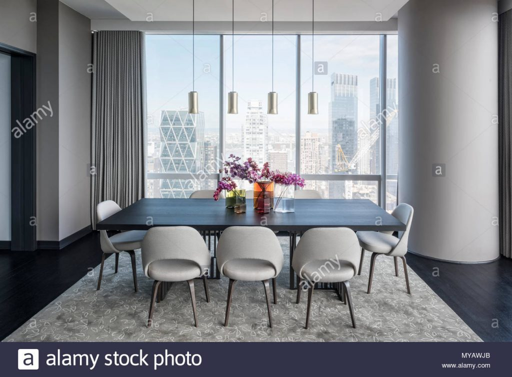 Dining Room In Modern Apartment In New York City Usa Stock Photo