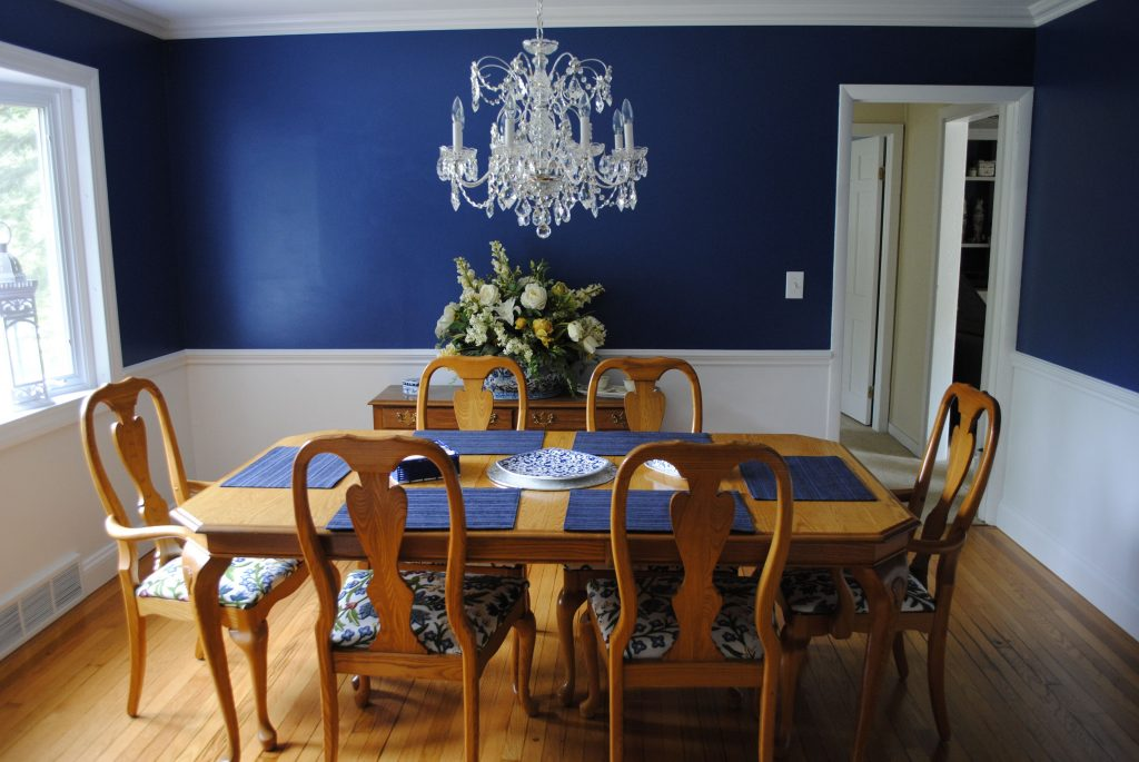 Dining Room Navy Blue Walls With A Chair Rail And White Bottom