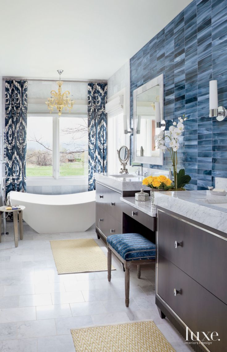 Eclectic White Bathroom With Blue Tile Accent Wall Bathroom Ideas