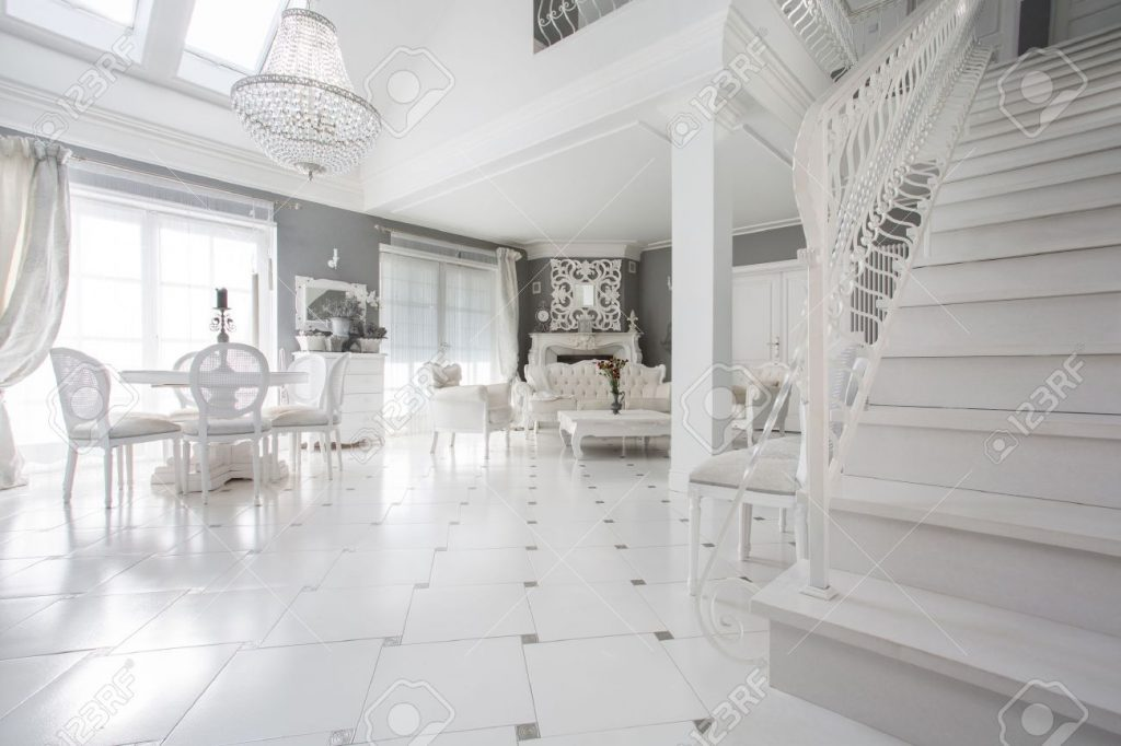 Exclusive White Living Room With Marble Floor Stock Photo Picture
