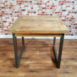 Extendable Industrial Dining Table Rustic Hardwood Folding Space