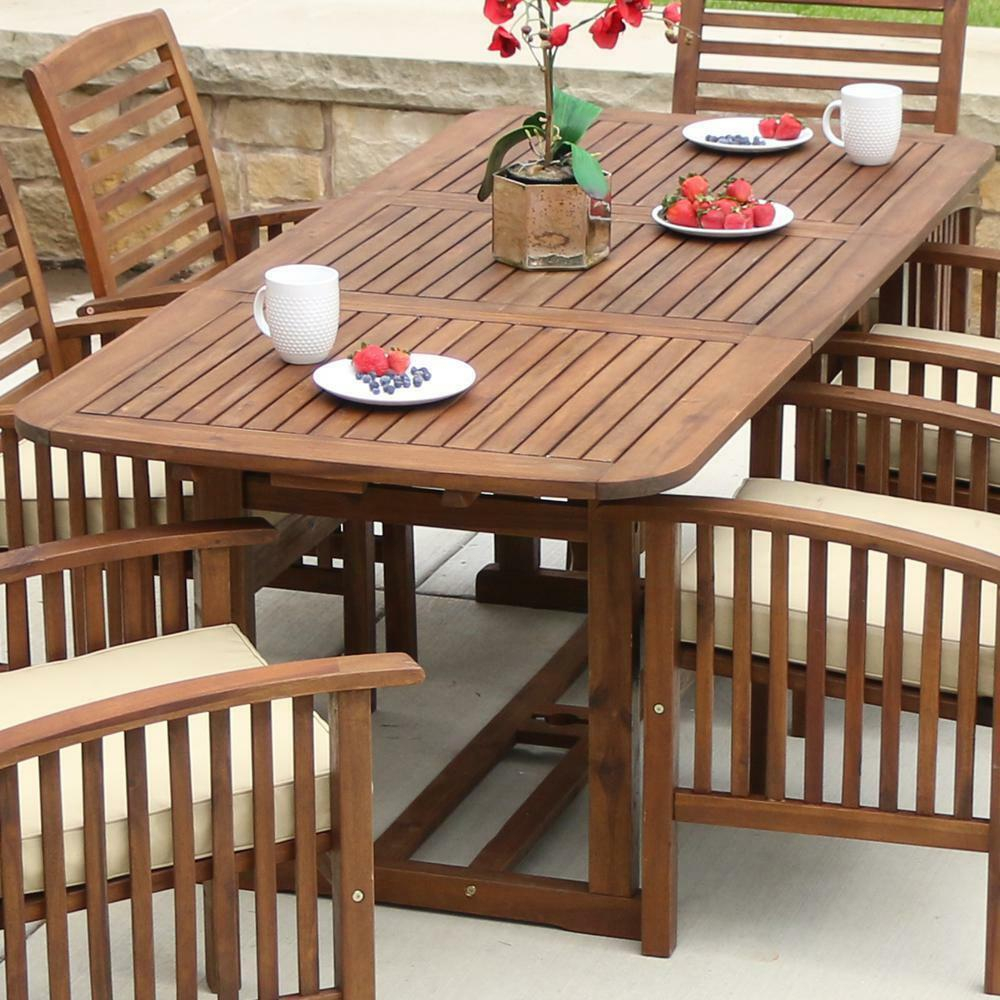 Extendable Outdoor Dining Table Deck Patio Furniture Dark Brown