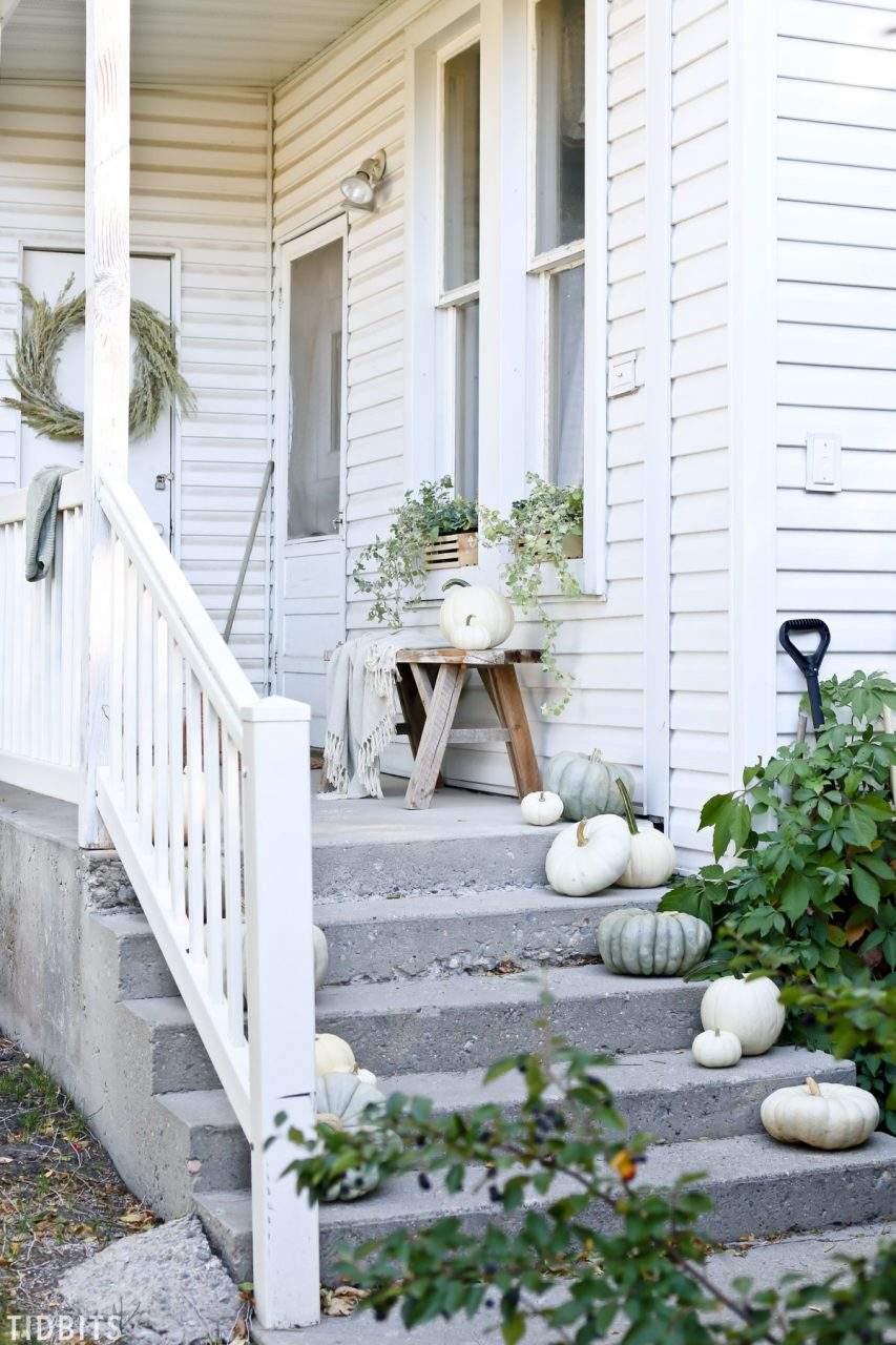 Fall Front Porch Decorating With Sage Green Tidbits