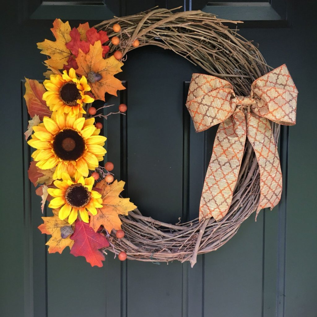 Fall Sunflower Vine Wreath Sunflower Wreath Vine Wreath Fall