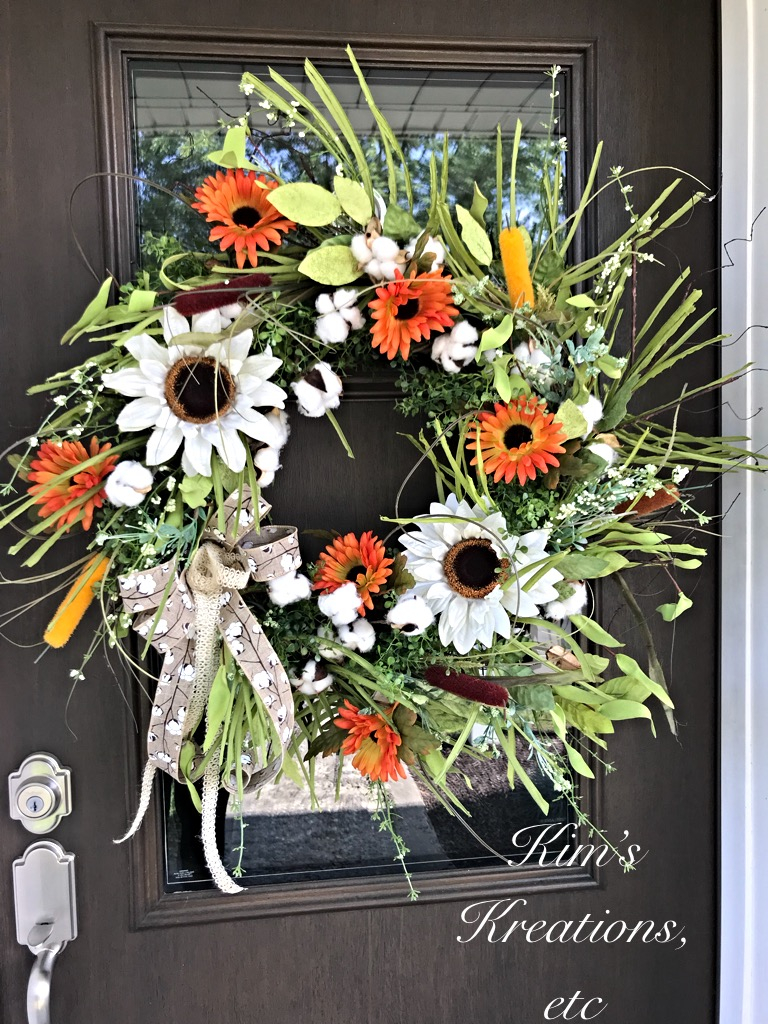 Fall Wreath Fall Sunflower Wreath Sunflowers And Cotton Wreath