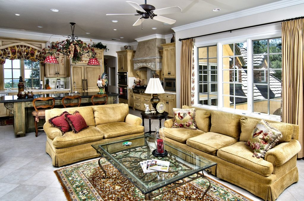 Fashionable French Country Living Room And Kitchen Interior Decor