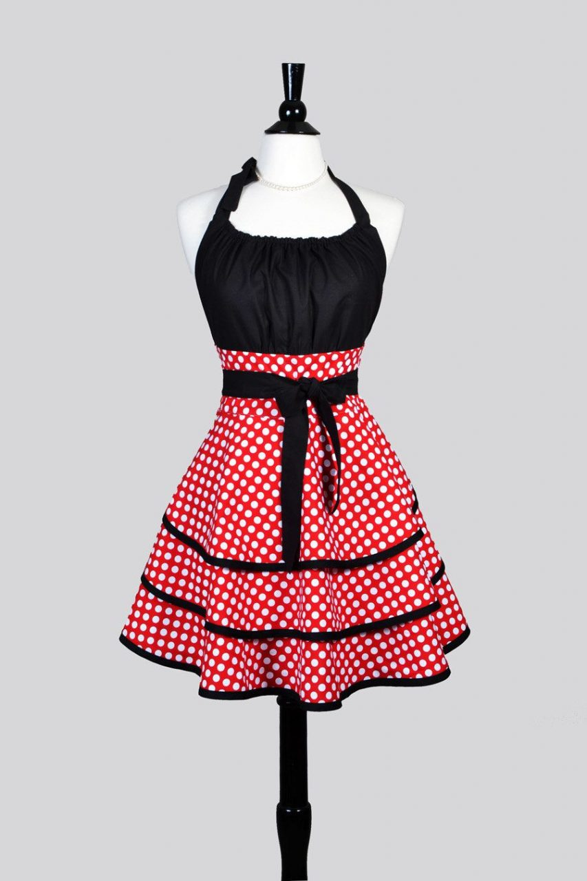 Flirty Chic Woman Apron Cute Red And White Polka Dot Vintage Style