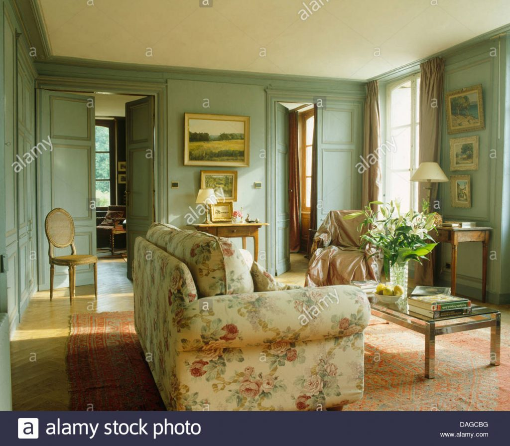 Floral Sofa In French Country Living Room With Gray Green Painted