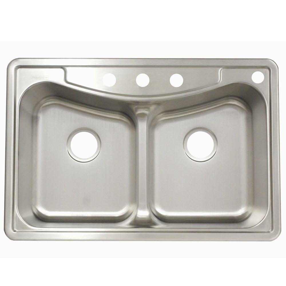 Franke Drop In Stainless Steel 33in 4 Hole Double Bowl Kitchen Sink