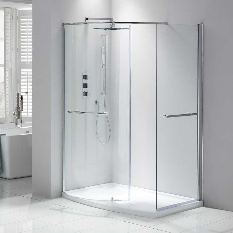 Frontline Aquaglass Purity Curved Walk In Shower 1350 X 900mm