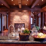 Furniture Dark Wood Ceiling Beams With Stone Wall And Granite