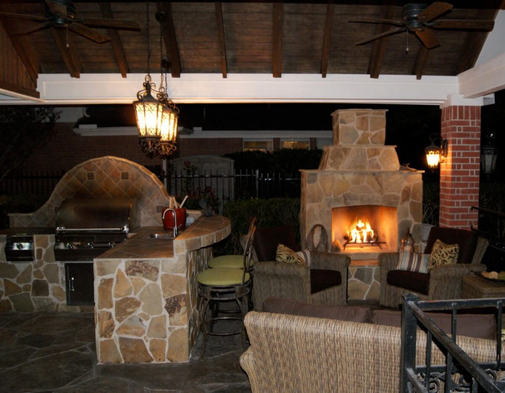 Gable Roof Patio Cover With Outdoor Kitchen Fireplace Texas