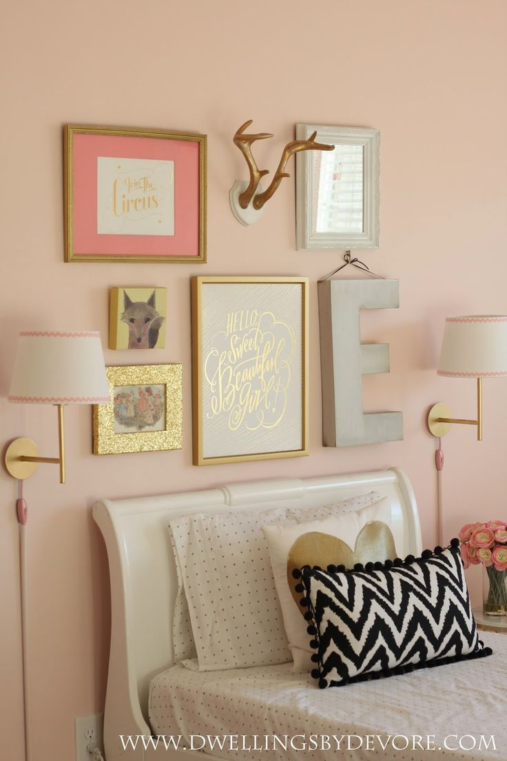 Girls Bedroom Gallery Wall Beautiful Pink And Gold Girls Room Love