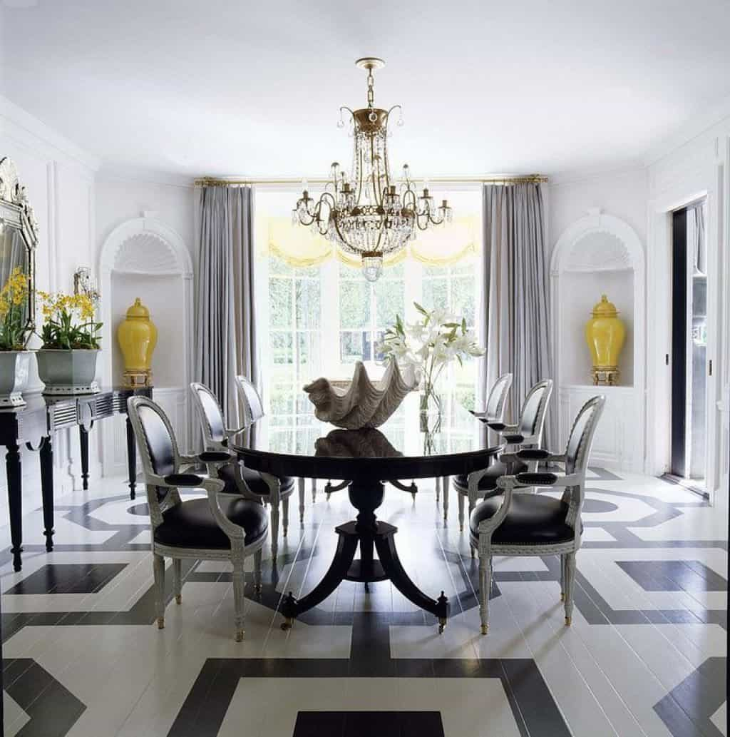 Gorgeous Dining Room With Crystal Chandelier Over Large Dining Table