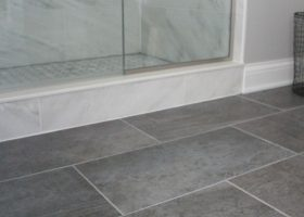 Bathroom Floor Tile with Grey Walls