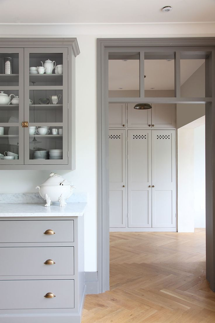 Gray Kitchen Cabinets Brass Hardware Herringbone Floor School