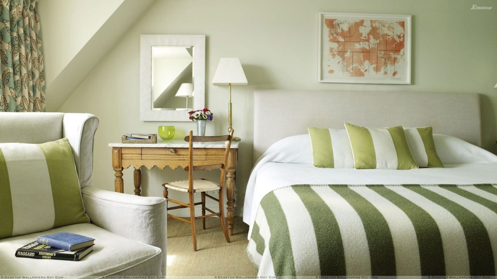 Green And White Rooms Bedroom With Green White Stripe Design