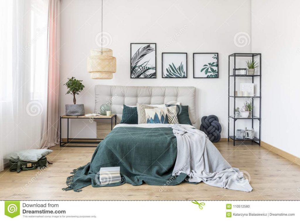 Green Bedroom Interior With Plant Stock Photo Image Of Gallery