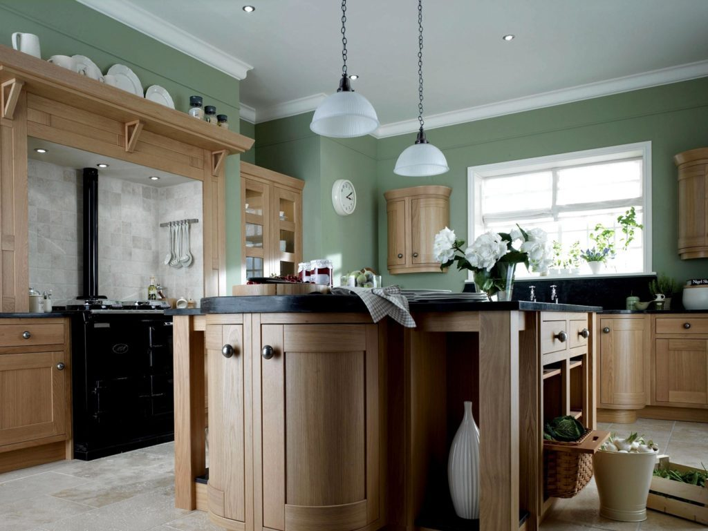 Green Kitchens With Oak Cabinets