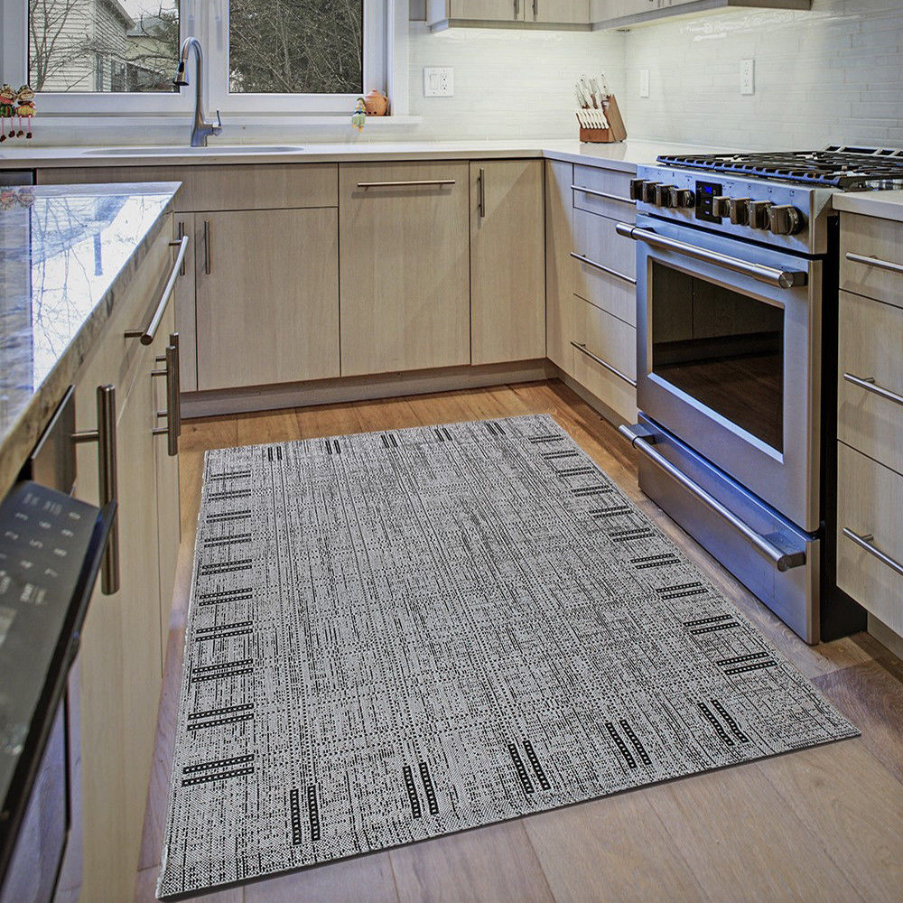 Grey Kitchen Rug Small Large Flatweave Floor Carpet Silver Hard