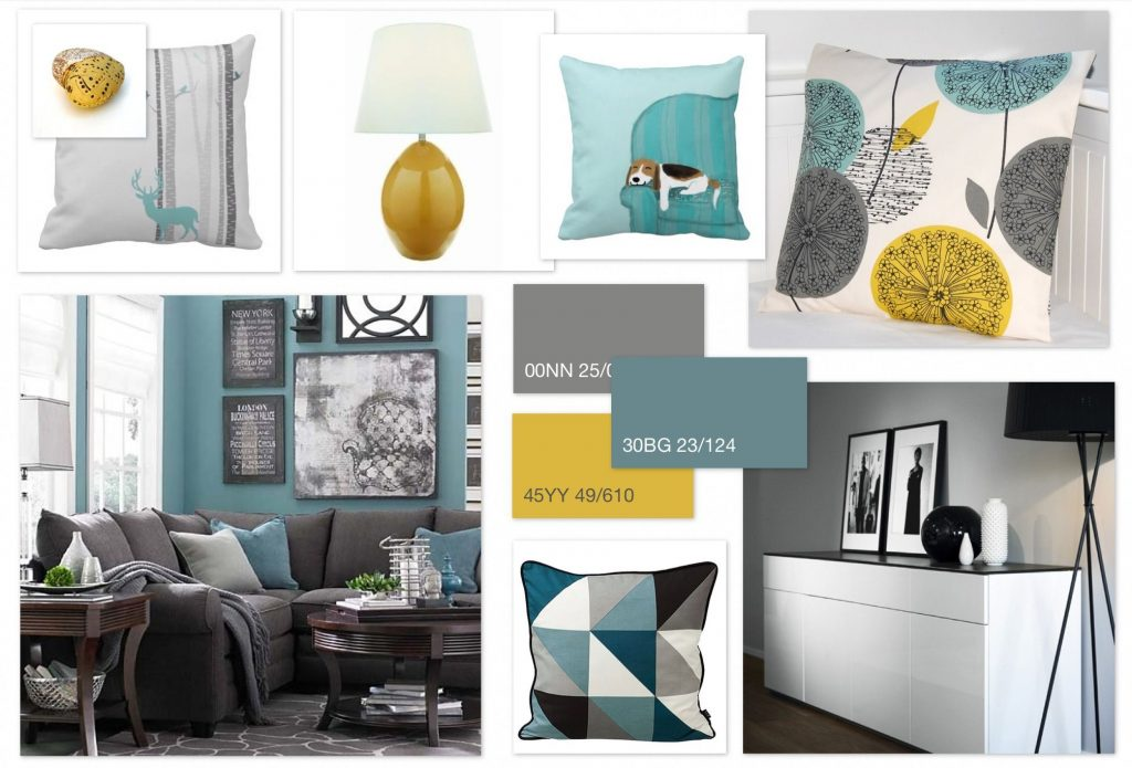 Grey Teal Ochre Scheme For A Family Living Room Home In 2019