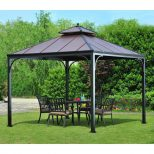 Hampton Bay Harper 10 Ft X 10 Ft Steel Hardtop Gazebo L Gz680pst M