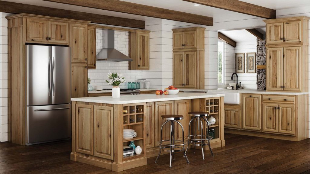Hampton Wall Kitchen Cabinets In Natural Hickory Kitchen The