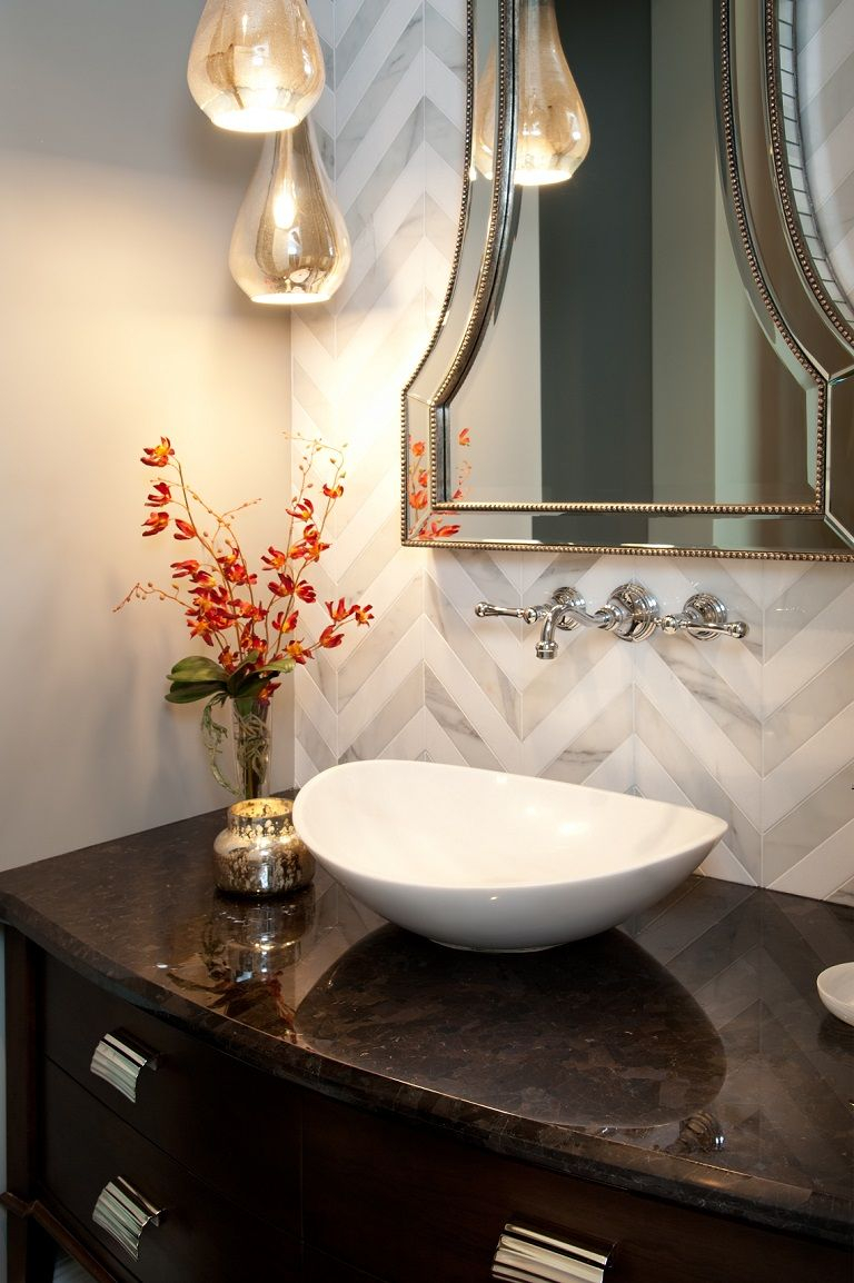 Hamptons Inspired Luxury Home Powder Room Robeson Design Bathrooms