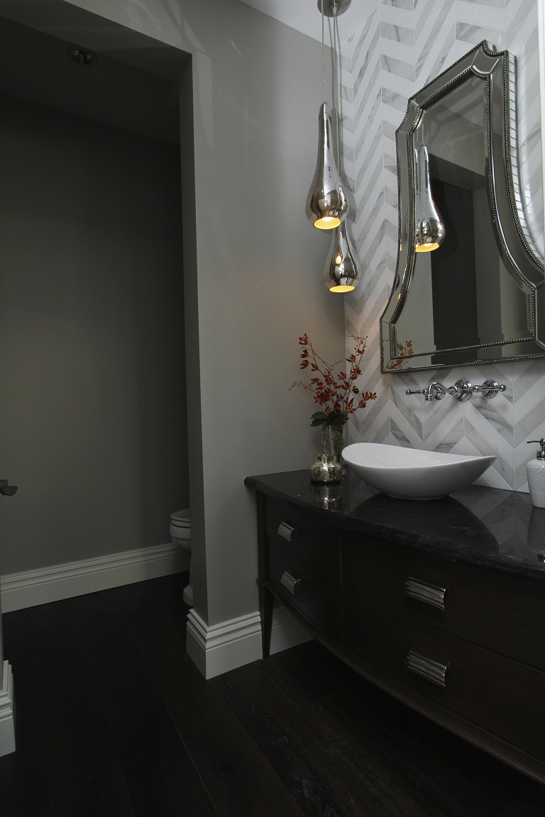 Hamptons Inspired Luxury Powder Room Before And After San Diego