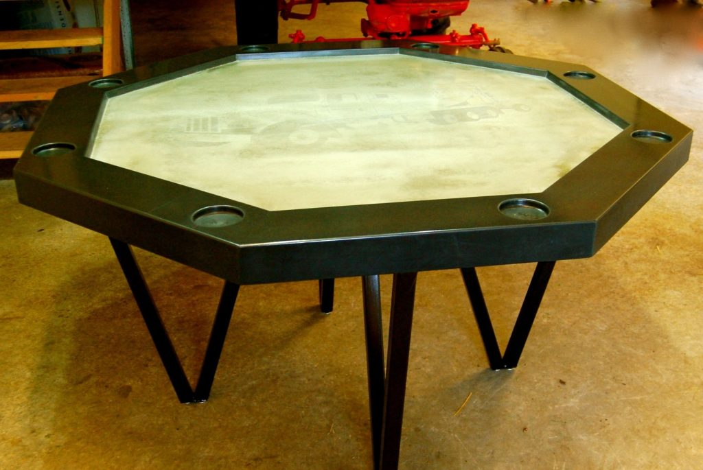 Handmade Concrete Poker Table Agitated Aggregate Custommade