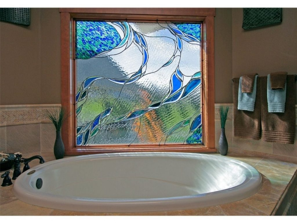 Handmade Stained Glass In A Bathroom Window Isaac D Smith Studio