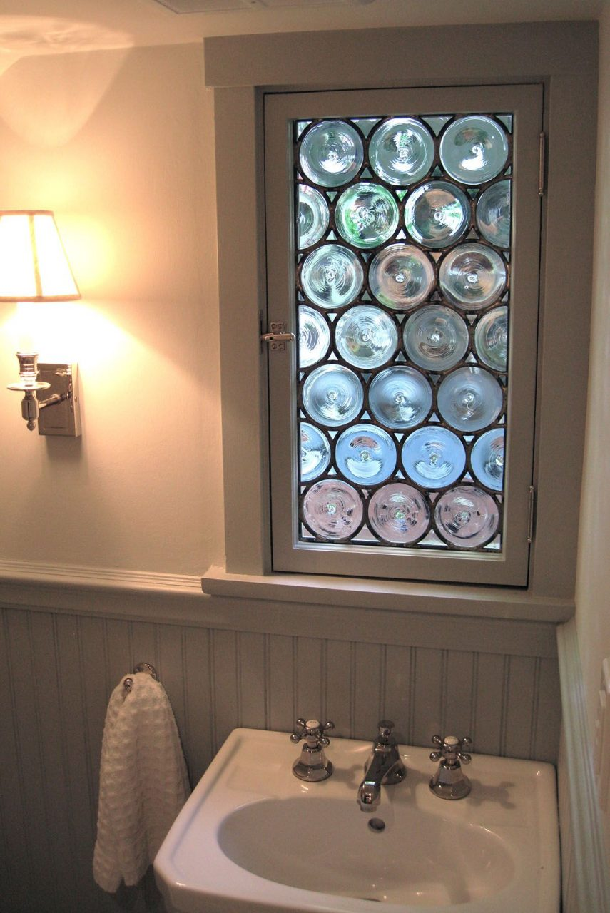 Handmade Stained Glass Rondel Bathroom Window Painted Light