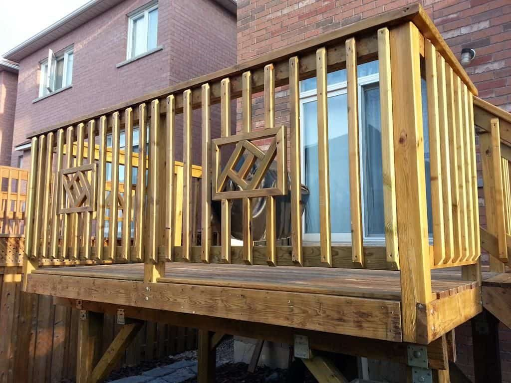 High Level Deck With Wooden Deck Railing Ways To Covering A