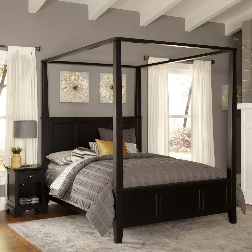 Home Styles Bedford Black Queen Canopy Bed 5531 510 The Home Depot