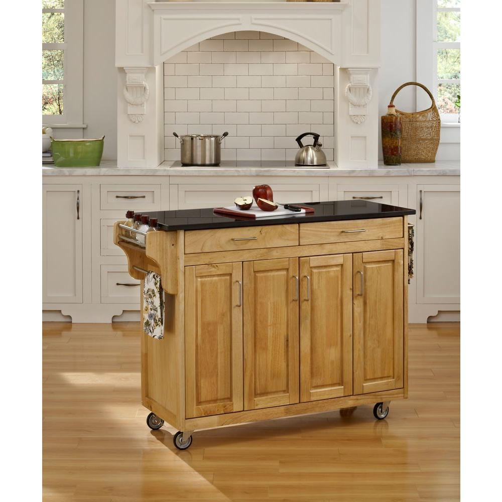 Home Styles Create A Cart Natural Kitchen Cart With Black Granite