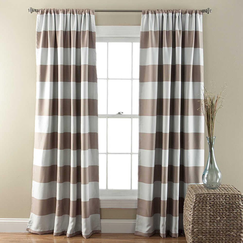 Horizontal Striped Taupe White Modern Farmhouse Curtains For