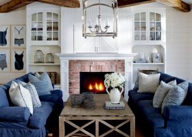 Blue Coastal Cottage Living Room