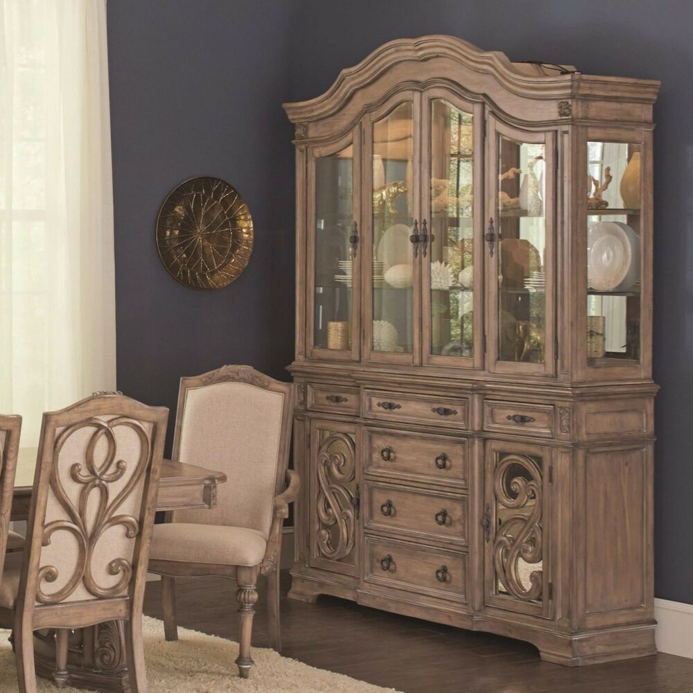 Ilana Traditional China Cabinet Hutch Buffet With Glass Door