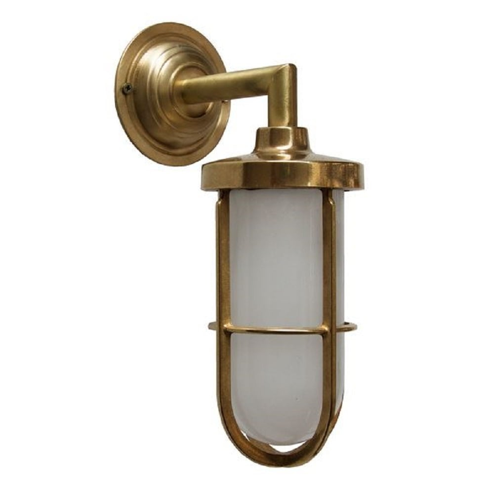 Indoor Or Outdoor Nautical Wall Light In Satin Brass With Frosted Glass